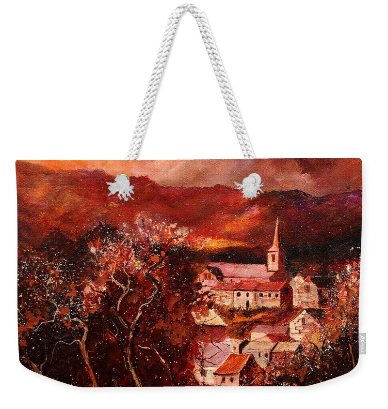 Tree Weekender Tote Bag featuring the painting Hour Village 67 by Pol Ledent