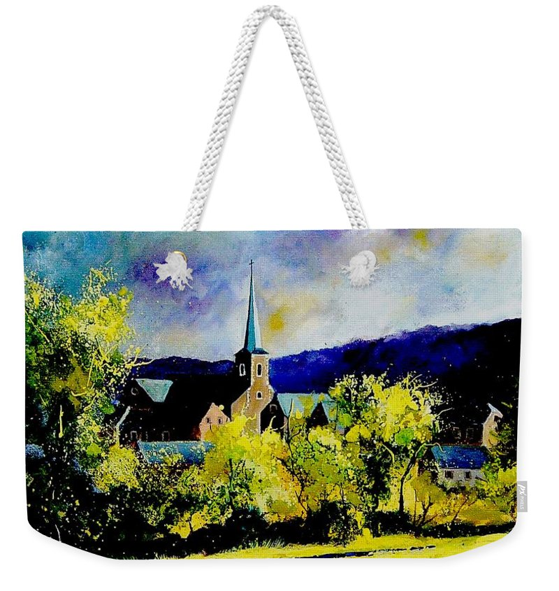 Poppies Weekender Tote Bag featuring the painting Hour Village Belgium by Pol Ledent
