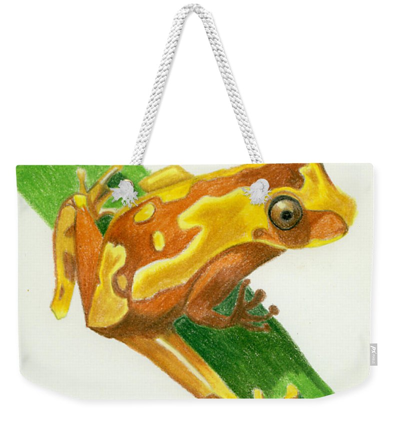 Frog Weekender Tote Bag featuring the drawing Hourglass Frog by Christina Beck