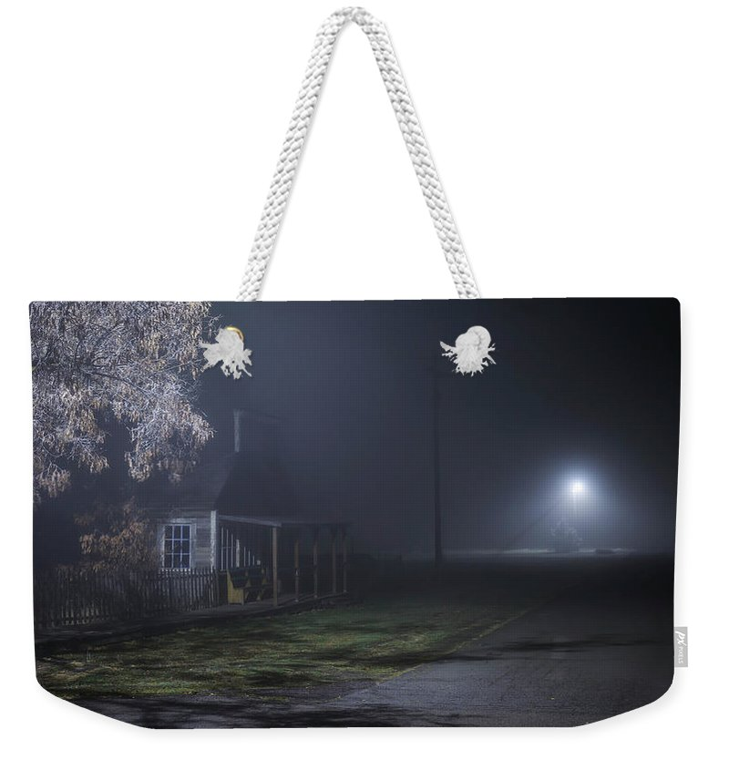 Night Weekender Tote Bag featuring the photograph House At The End Of The Road by Cat Connor
