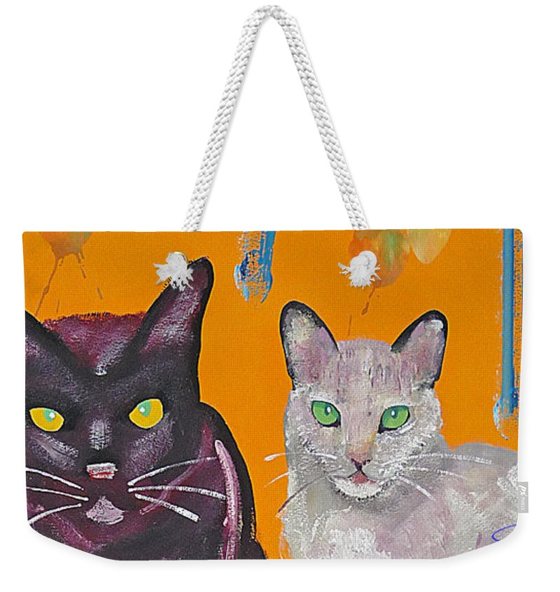 Cat Weekender Tote Bag featuring the painting House Cats by Charles Stuart