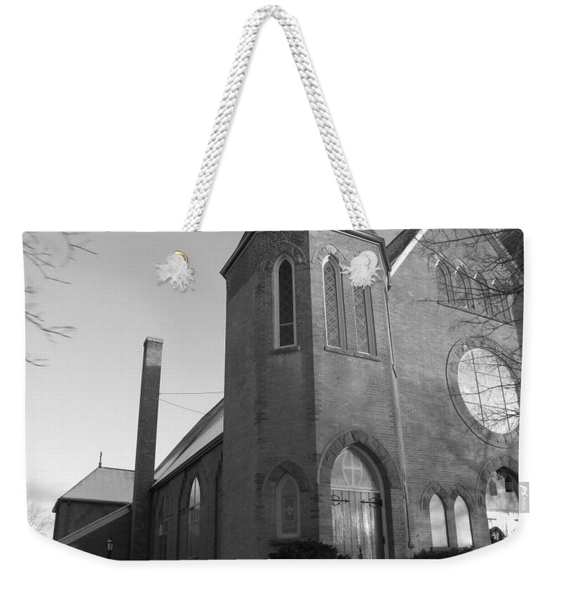 House Weekender Tote Bag featuring the photograph House Of God by Rhonda Barrett
