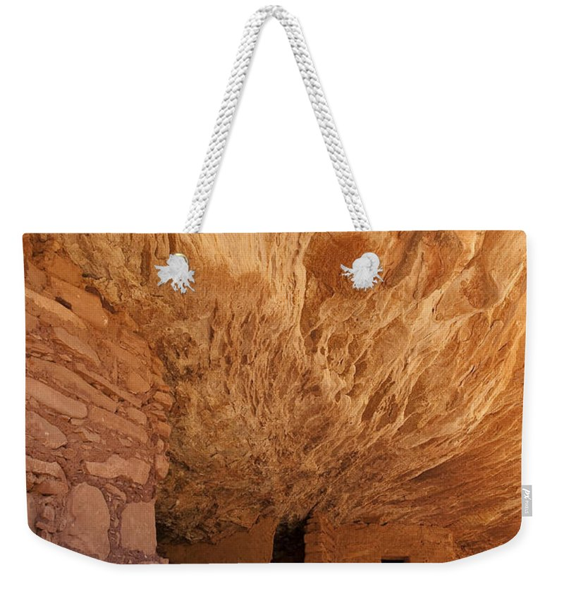 Southwest Weekender Tote Bag featuring the photograph House On Fire-indian Ruin by Sandra Bronstein