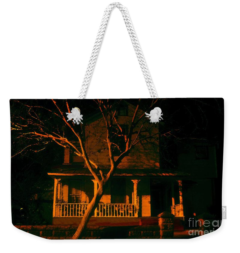 Haunted House Weekender Tote Bag featuring the painting House On Haunted Hill by David Lee Thompson