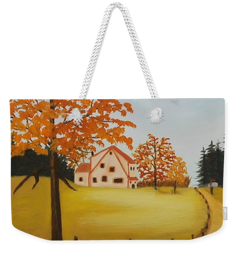 Original Oil Paintings Weekender Tote Bag featuring the painting House On The Hill by Ruth Housley