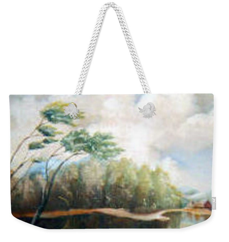 Landscape Weekender Tote Bag featuring the painting House On The Lake by Sergey Bezhinets