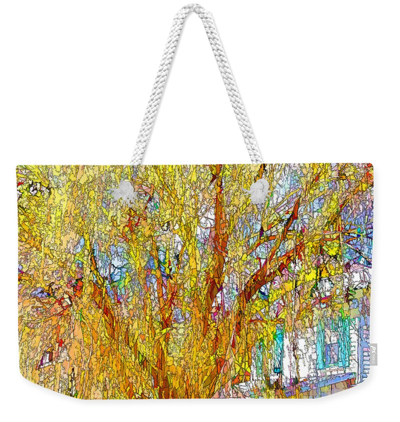 Architecture Weekender Tote Bag featuring the painting House With White Picket Fence by Jeelan Clark