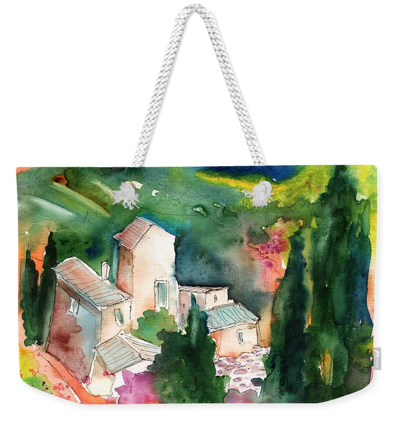 Landscapes Weekender Tote Bag featuring the painting Houses In Montepulciano In Tuscany 01 by Miki De Goodaboom