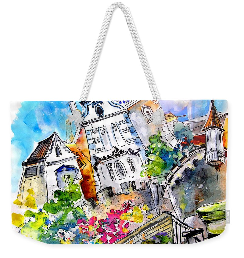 Portugal Weekender Tote Bag featuring the painting Houses In Ponte De Lima by Miki De Goodaboom