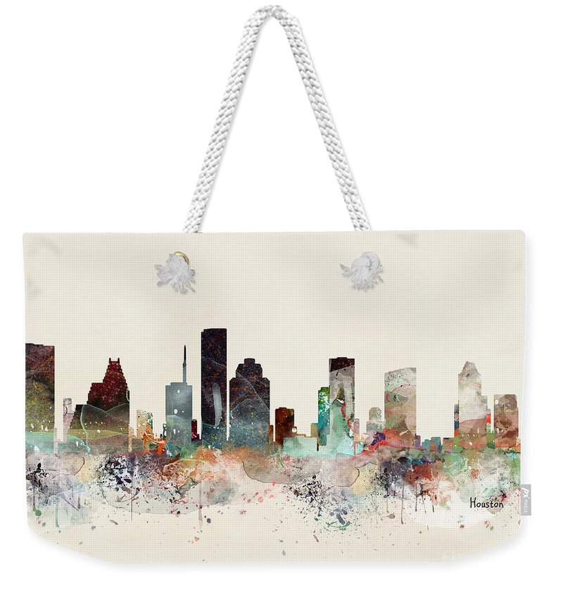 Houston Weekender Tote Bag featuring the painting Houston Texas Skyline by Bri Buckley