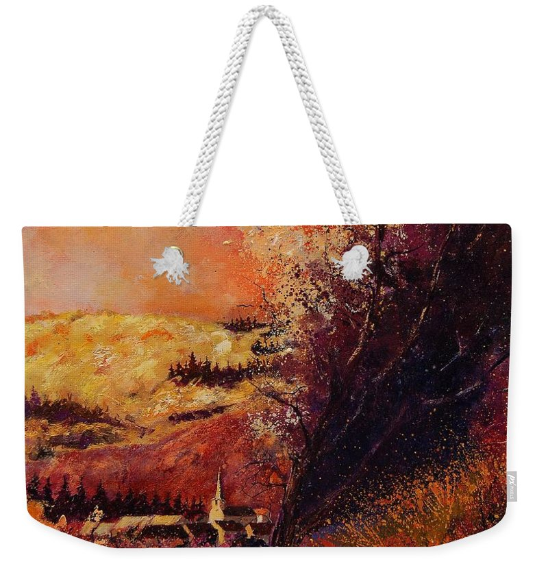 Tree Weekender Tote Bag featuring the painting Houyet In Fall by Pol Ledent