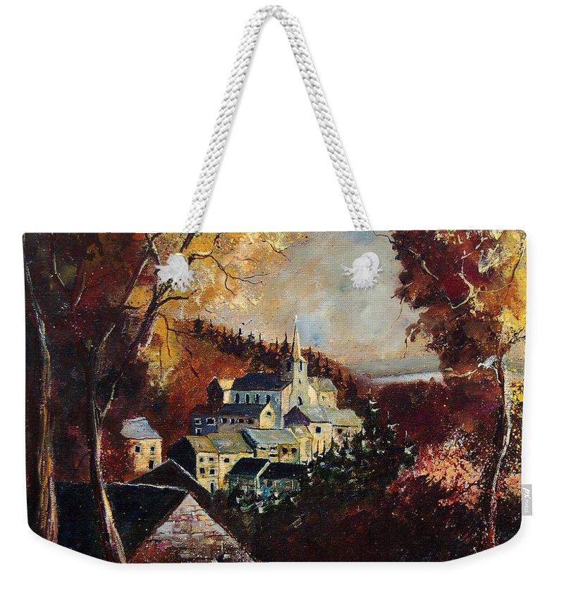 Tree Weekender Tote Bag featuring the painting Houyet Village Belgium by Pol Ledent