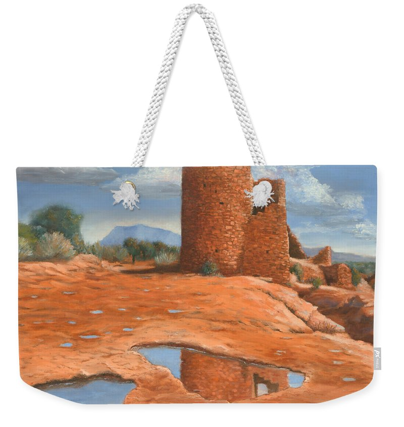 Anasazi Weekender Tote Bag featuring the painting Hovenweep Reflection by Jerry McElroy