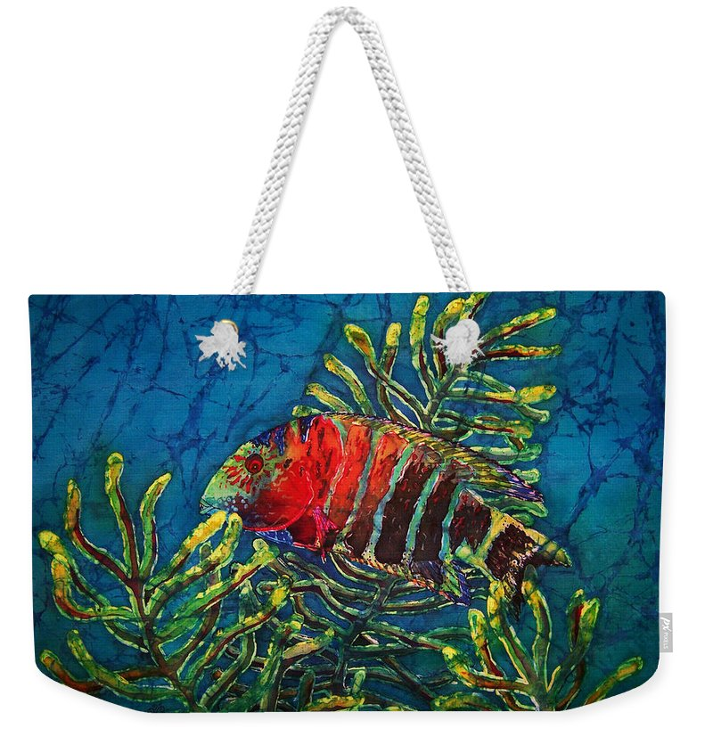 Fish Weekender Tote Bag featuring the painting Hovering - Red Banded Wrasse by Sue Duda