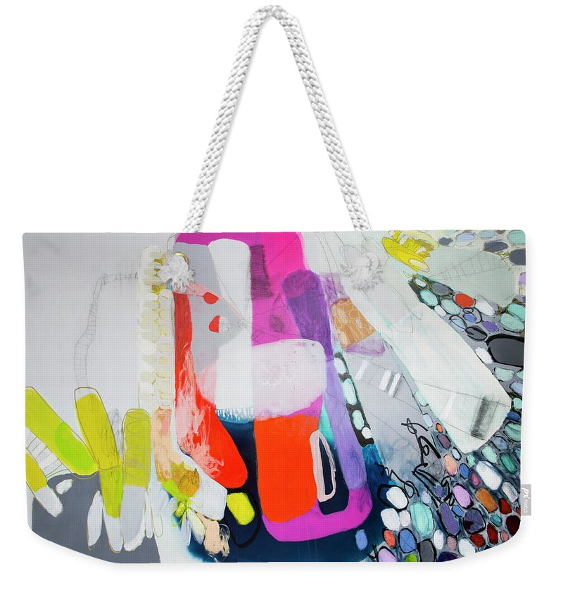 Abstract Weekender Tote Bag featuring the painting How Many Fingers? by Claire Desjardins