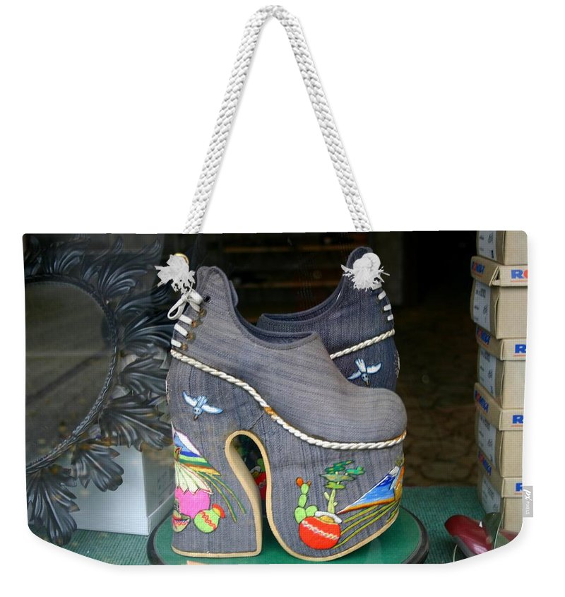 Shoes Weekender Tote Bag featuring the photograph How Much Are Those Shoes In The Window by Minaz Jantz