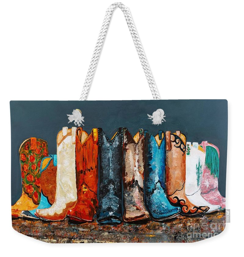 Cowboy Boots Weekender Tote Bag featuring the painting How The West Was Really Won by Frances Marino