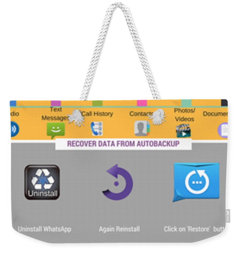 Android Data Recovery Weekender Tote Bag featuring the digital art How To Recover Android Whatsapp Lost Data by Edwards Paul