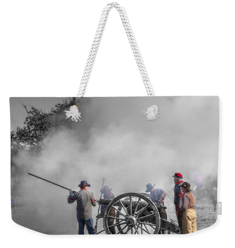 Howitzer Weekender Tote Bag featuring the photograph Howitzer Battle Of Honey Springs V8 by John Straton