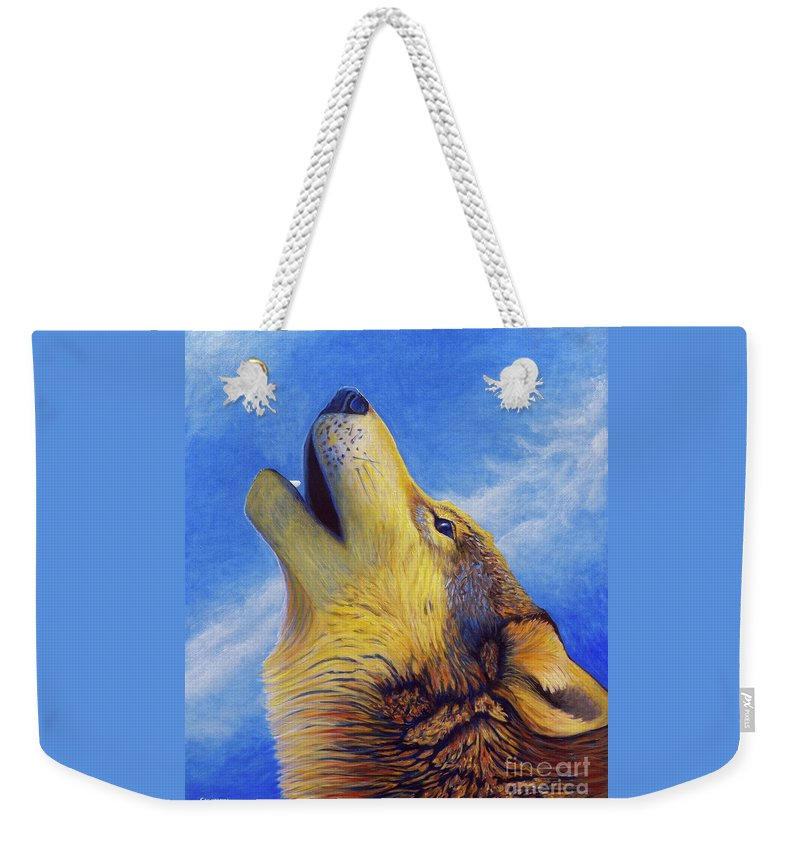 Wolf Weekender Tote Bag featuring the painting Howl by Brian Commerford