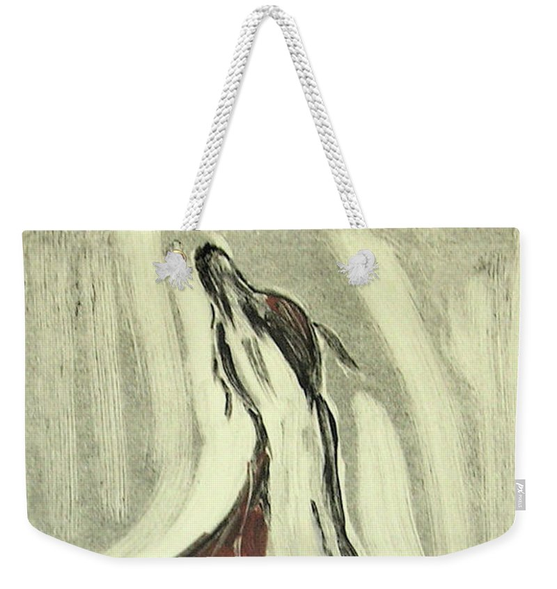 Monotype Weekender Tote Bag featuring the mixed media Howling For Joy by Cori Solomon