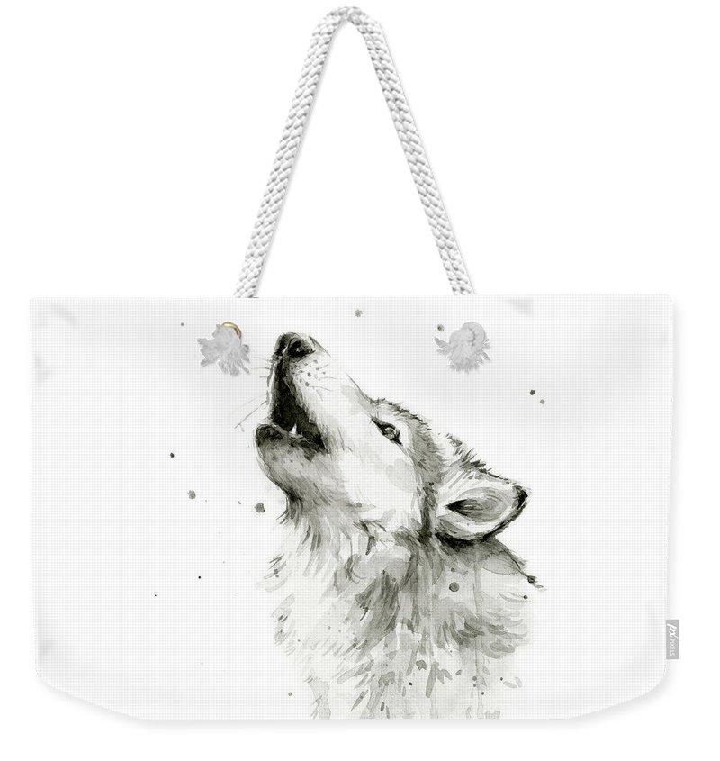Watercolor Weekender Tote Bag featuring the painting Howling Wolf Watercolor by Olga Shvartsur