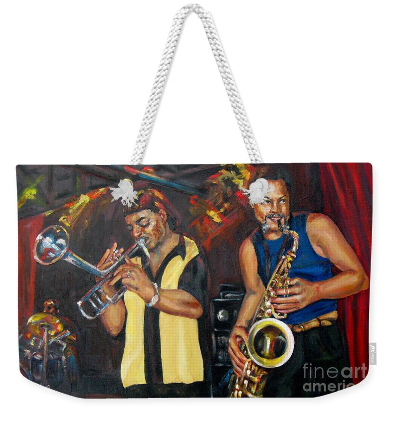 Musician Weekender Tote Bag featuring the painting Hud N Lew/ The Daddyo Brothers by Beverly Boulet