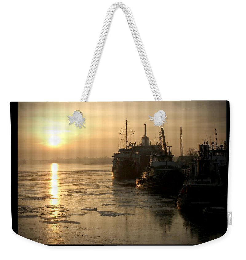 Boat Weekender Tote Bag featuring the photograph Huddled Boats by Tim Nyberg