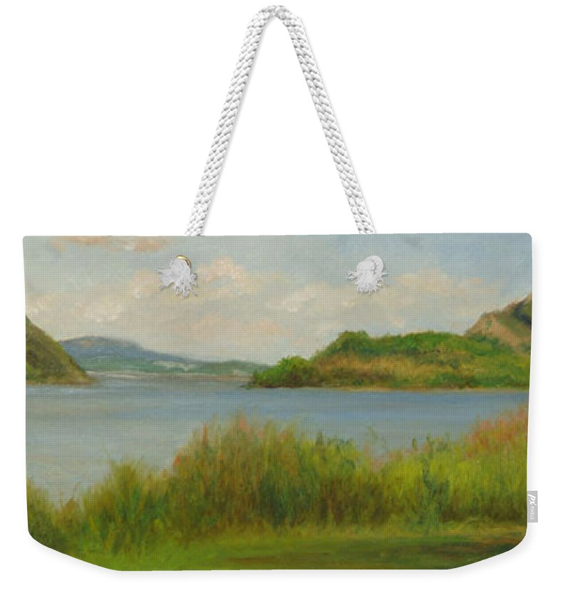 Oil Landscape Weekender Tote Bag featuring the painting Hudson From Cold Spring by Phyllis Tarlow