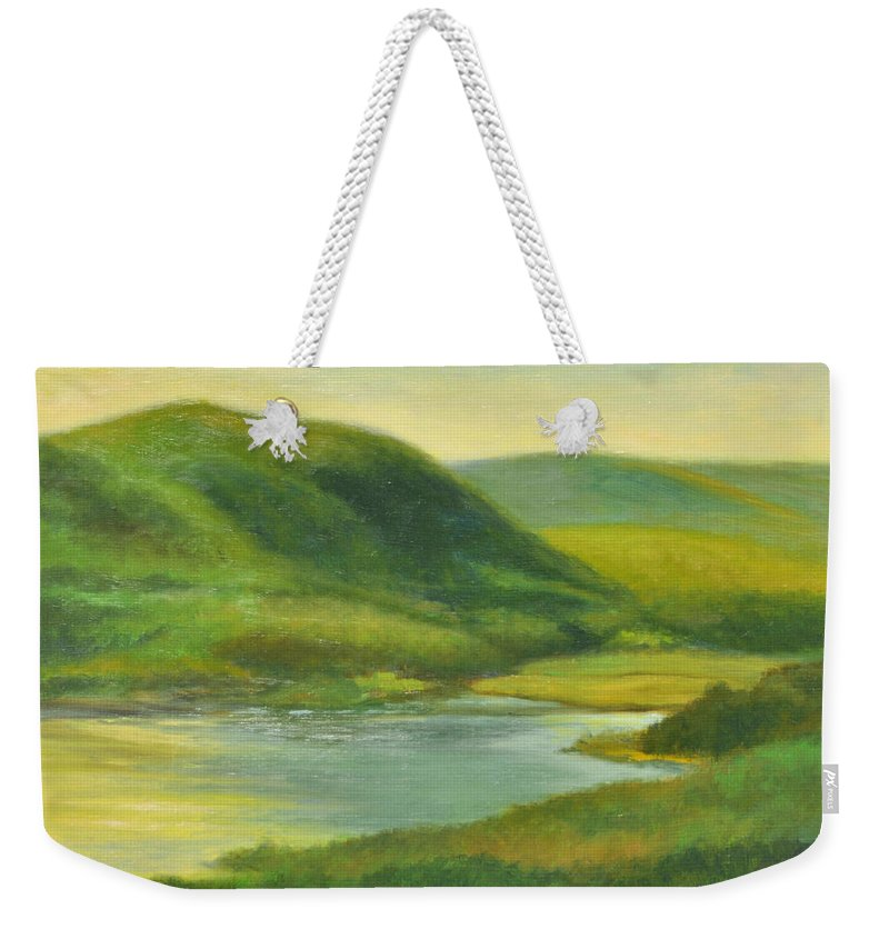 Hudson River Weekender Tote Bag featuring the painting Hudson From Toll House Trail by Phyllis Tarlow