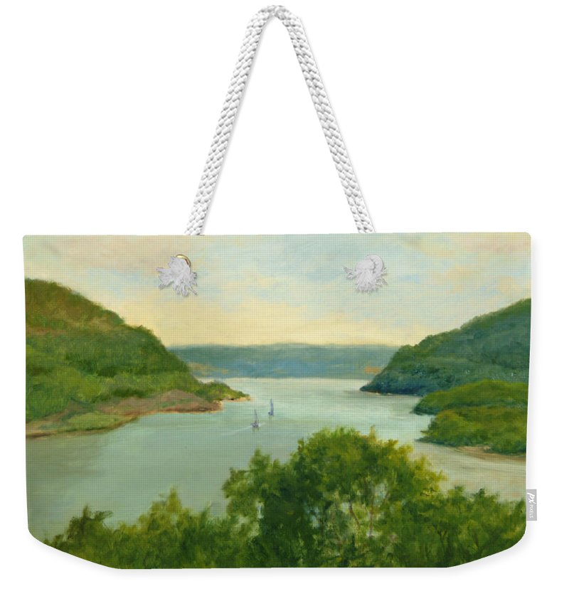 Hudson River Weekender Tote Bag featuring the painting Hudson River From Bear Mt. by Phyllis Tarlow