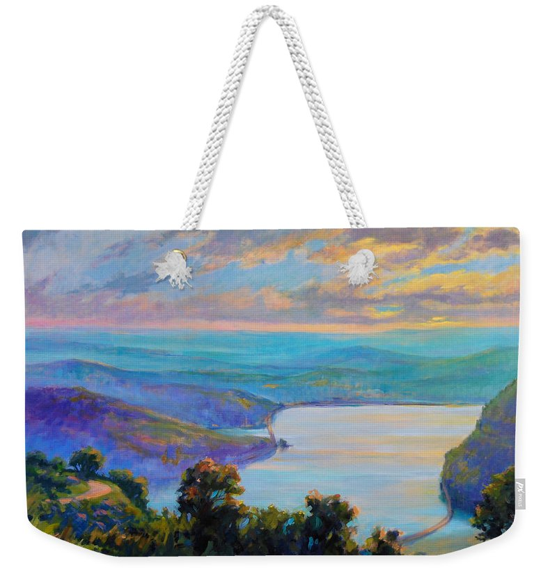 Hudson River Landscape Weekender Tote Bag featuring the painting Hudson River Light by Linda Richichi