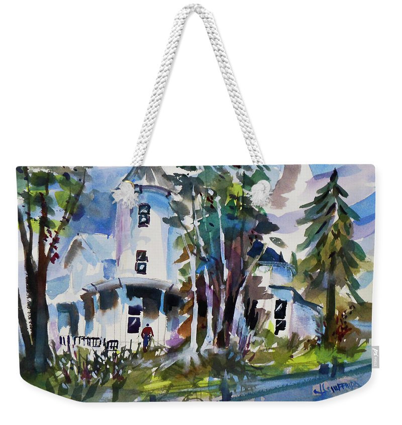 New York Weekender Tote Bag featuring the painting Hudson River Victorian by Joseph Giuffrida