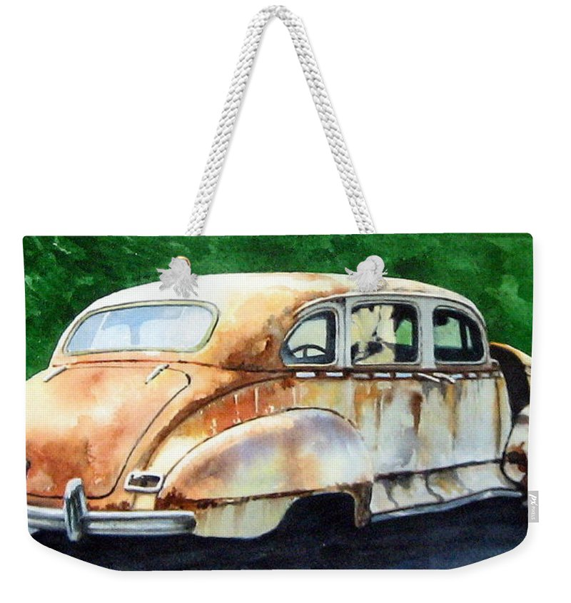Hudson Car Rust Restore Weekender Tote Bag featuring the painting Hudson Waiting For A New Start by Ron Morrison