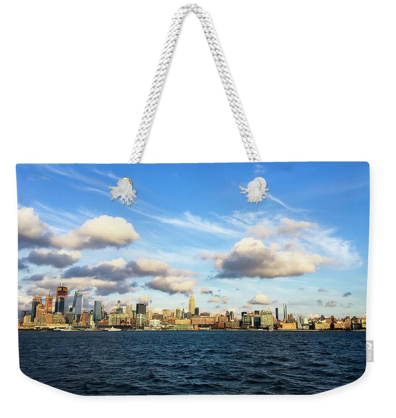 Empire State Building Weekender Tote Bag featuring the photograph Hudson Waterfront by Vartika Singh