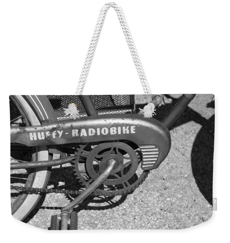 Huffy Weekender Tote Bag featuring the photograph Huffy Radio Bike by Lauri Novak
