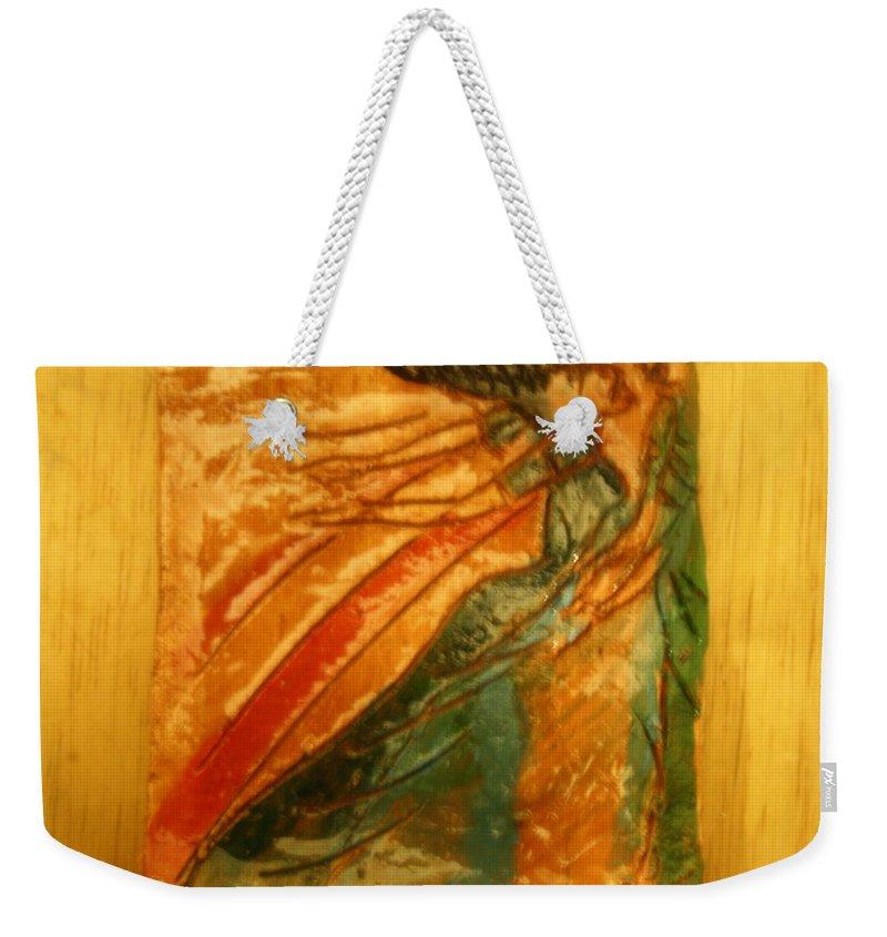 Jesus Weekender Tote Bag featuring the ceramic art Hug Time - Tile by Gloria Ssali