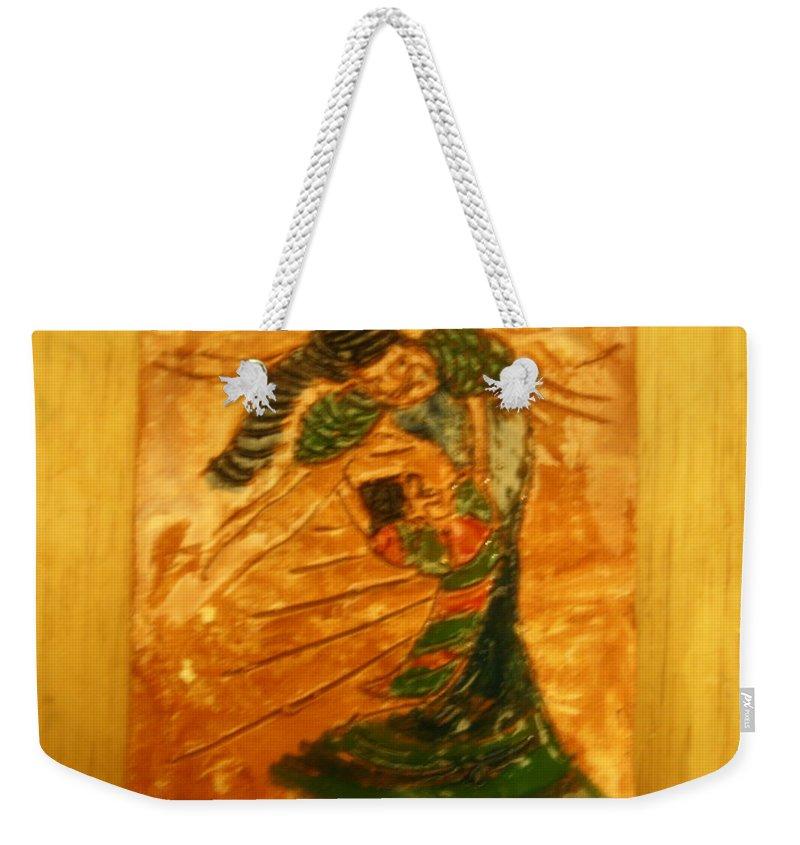 Jesus Weekender Tote Bag featuring the ceramic art Hugs - Tile by Gloria Ssali