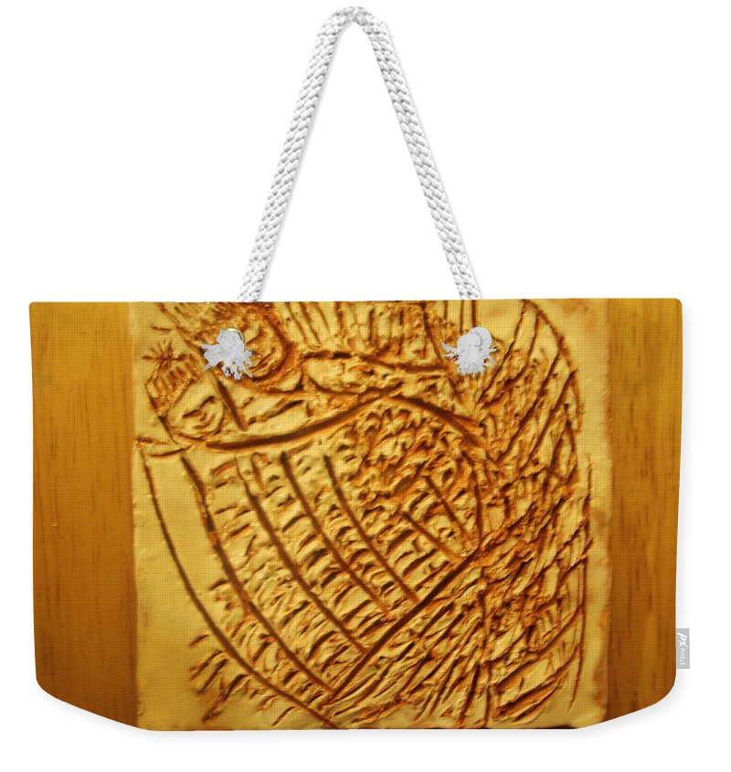 Jesus Weekender Tote Bag featuring the ceramic art Hugtime - Tile by Gloria Ssali