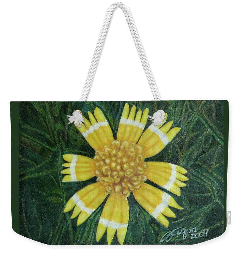 Fuqua - Artwork Weekender Tote Bag featuring the drawing Huisache Daisy by Beverly Fuqua