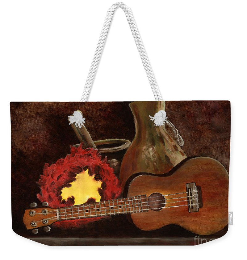 Ukelele Weekender Tote Bag featuring the painting Hula Implements by Larry Geyrozaga