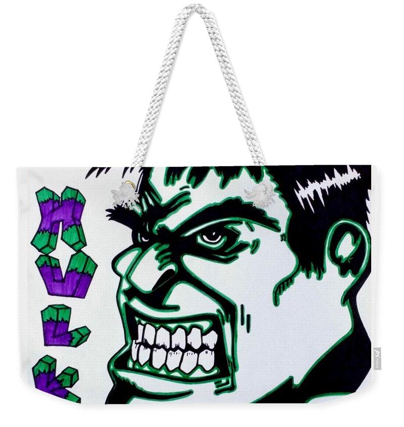Hulk Weekender Tote Bag featuring the drawing Hulk by Lakeesha Mitchell