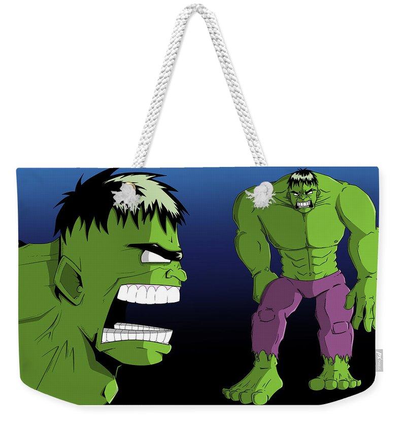 Nathan Spencer Weekender Tote Bag featuring the digital art Hulk by Nathan Spencer