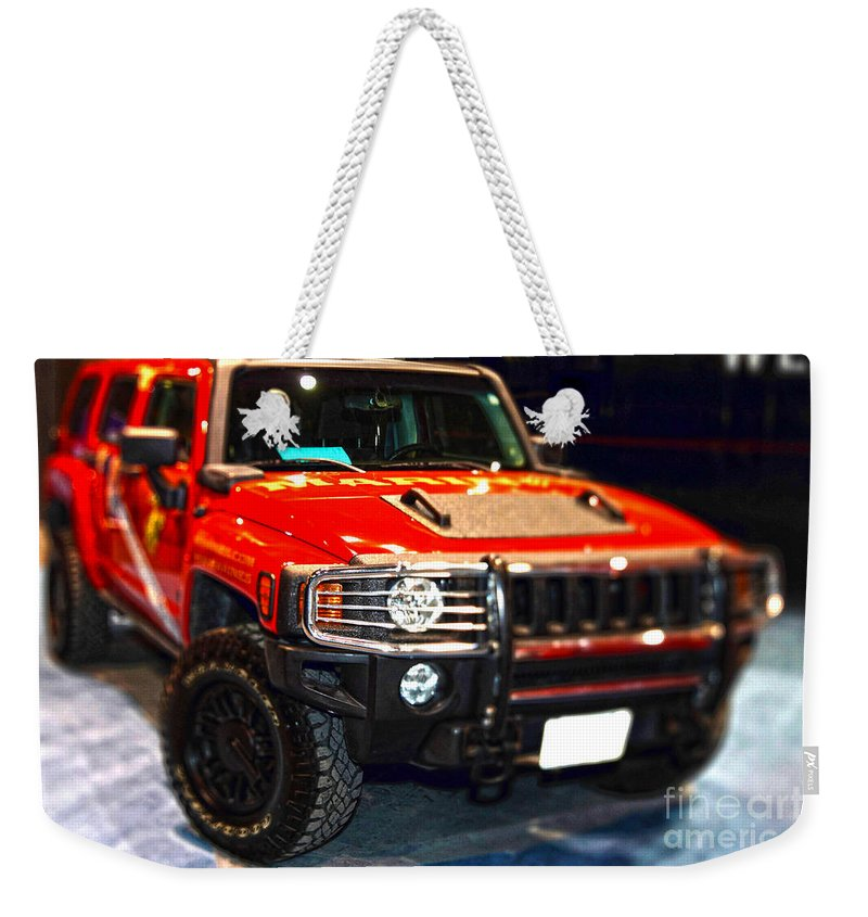 Auto Weekender Tote Bag featuring the photograph Hummer - Marine Recruiting by Alan Look