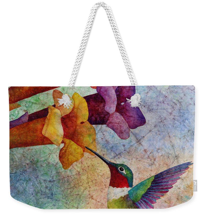 Hummingbird Weekender Tote Bag featuring the painting Hummer Time by Hailey E Herrera