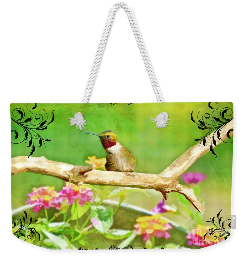 Nature Weekender Tote Bag featuring the photograph Humminbird Attitude - Digital Paint 3 by Debbie Portwood