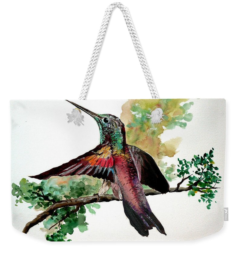 Humming Bird Painting Bird Painting  Tropical Painting Caribbean Painting Greeting Painting Weekender Tote Bag featuring the painting Hummingbird 5 by Karin Dawn Kelshall- Best