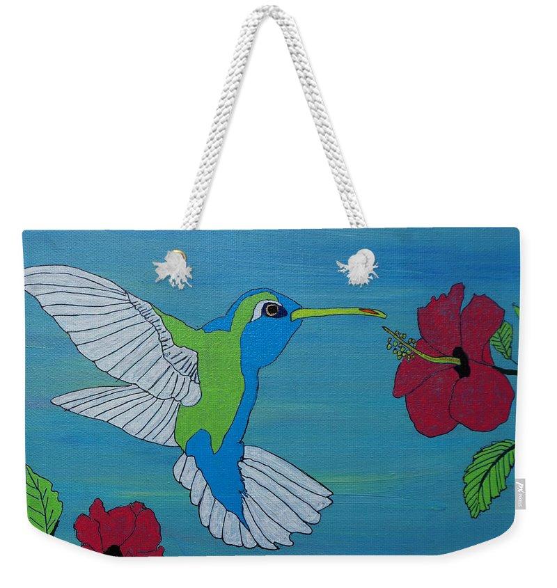 Hummingbird Weekender Tote Bag featuring the painting Hummingbird And Flowers by Katherine Klauber