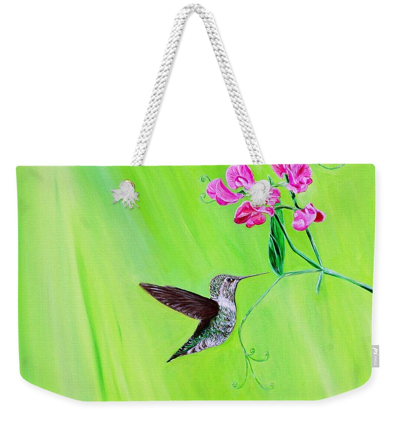Featured Weekender Tote Bag featuring the painting Hummingbird And Sweet Peas by Kirsten Sneath