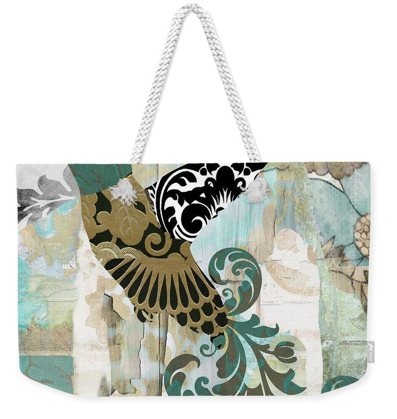 Hummingbird Weekender Tote Bag featuring the painting Hummingbird Batik by Mindy Sommers